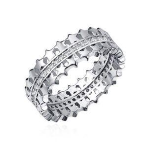 Star Silver Clear CZ Diamond Ring Eternity Band